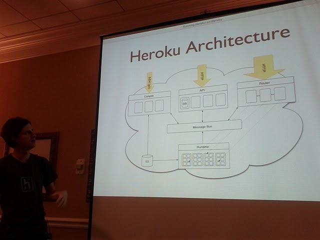 Noah  Zoschke talking about heroku cloud architecture